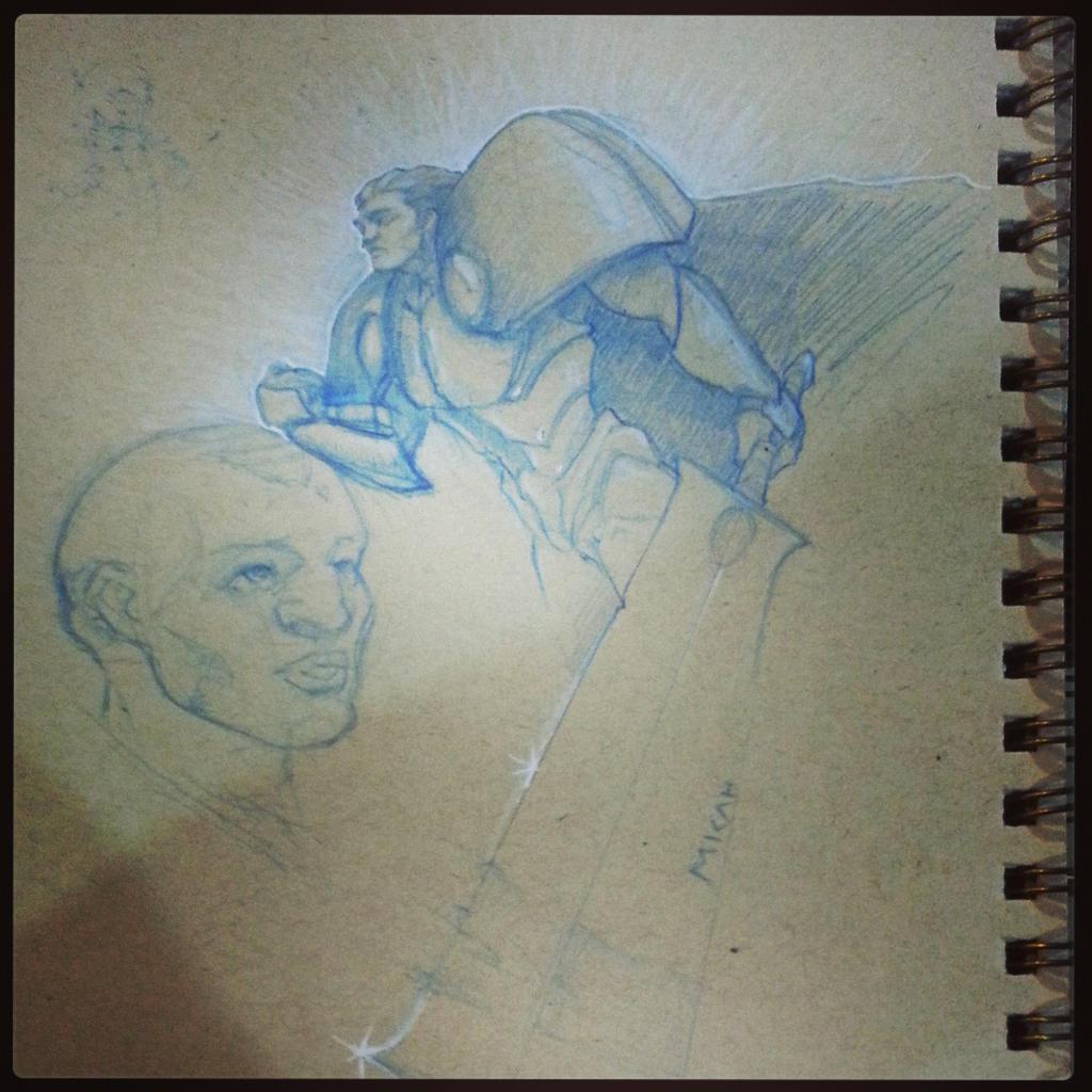 Blue Pencil Warrior by Scribblebot