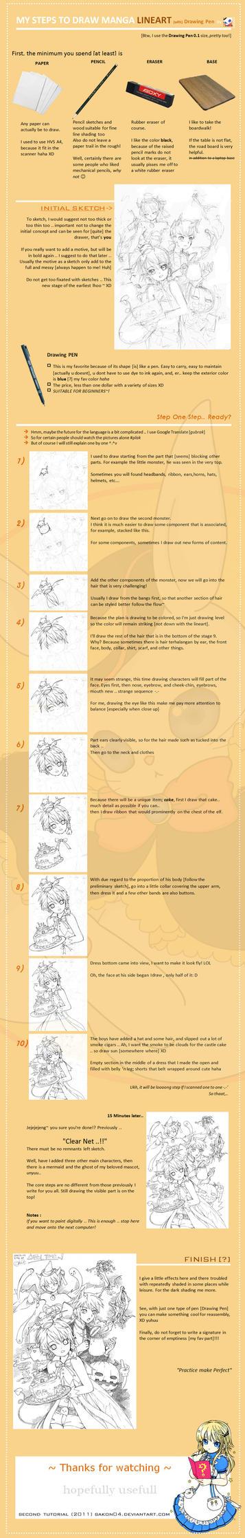 LineArt Manga Tutorial Steps by Sakon04
