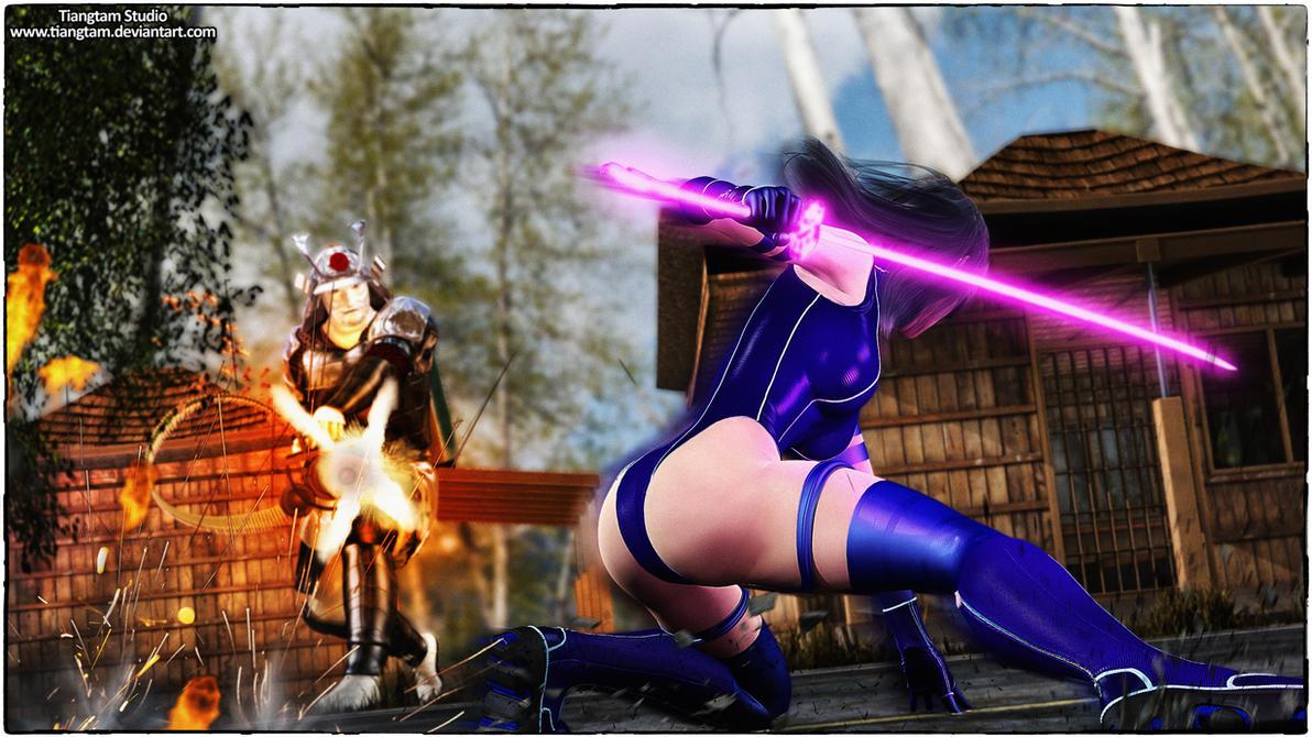 Psylocke and Samuri by tiangtam