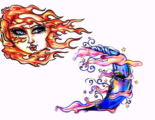 Sun and Moon tattoo designs by ~Mexican-Gypsy on deviantART