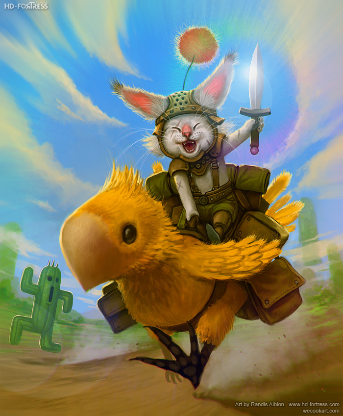 Moogle riding Chocobo by randis