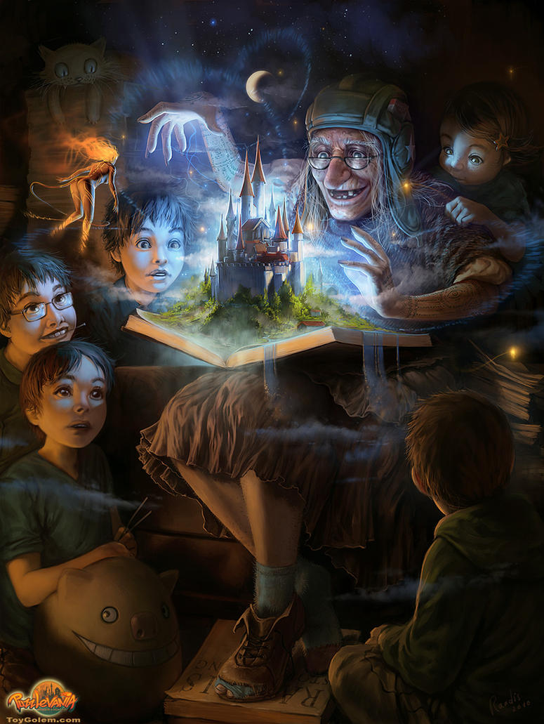 Old woman with a magical storybook telling stories to gathered children