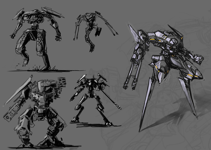 some quick mecha drawings