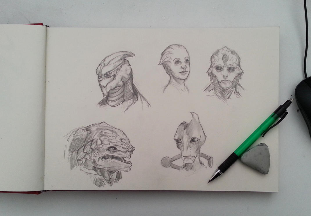 Sketch : Mass Effect 2 characters by Pakoune