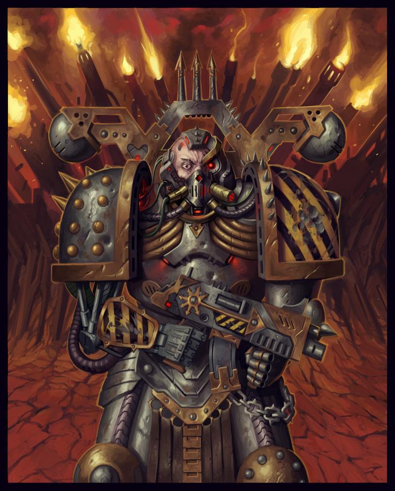 Warhammer 40k Chaos Space Marines: Chaos Space Marine : Iron Warrior [40k] By RazydaArt On