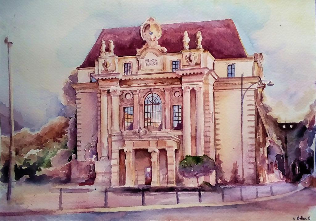 Teatr Lalek-Wroclaw, Watercolor by Andrzej-Korytkowski