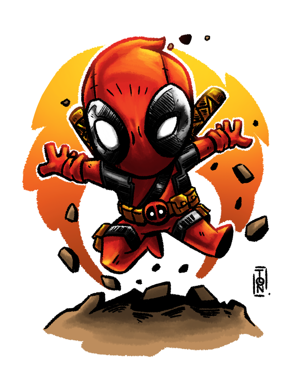 This is an image of Dashing Chibi Deadpool Drawing