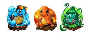 Pokemon Starter Fanart by tontentotza