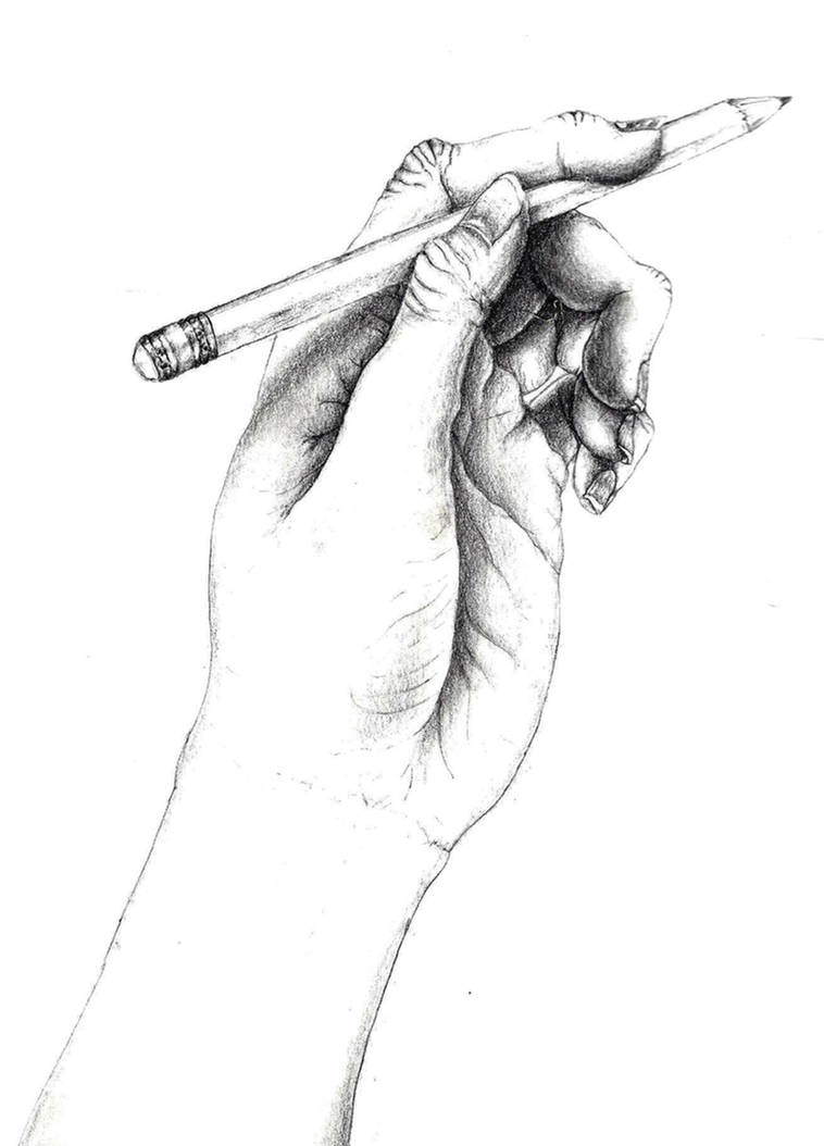 Pencil drawing of a hand holding a pencil by twistedxvision