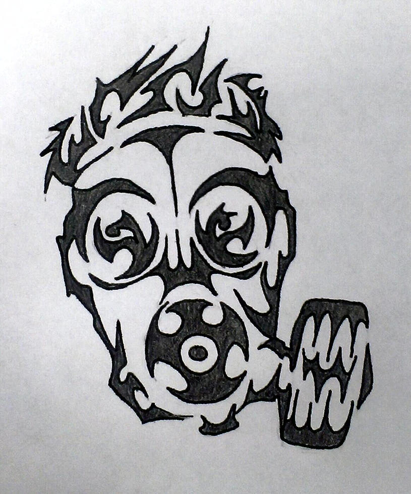 Gas Mask Tribal Design by TwistedxVision on DeviantArt Gas Mask Tattoo Sketch