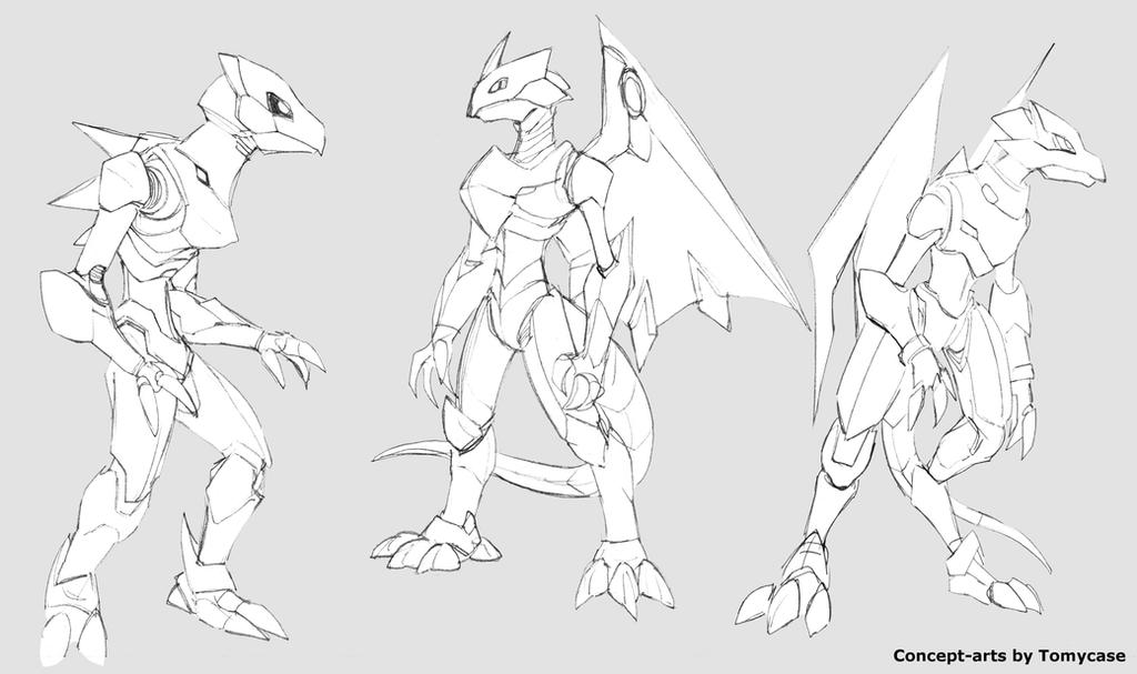 Anthro robot dragon sketches by Zohaku
