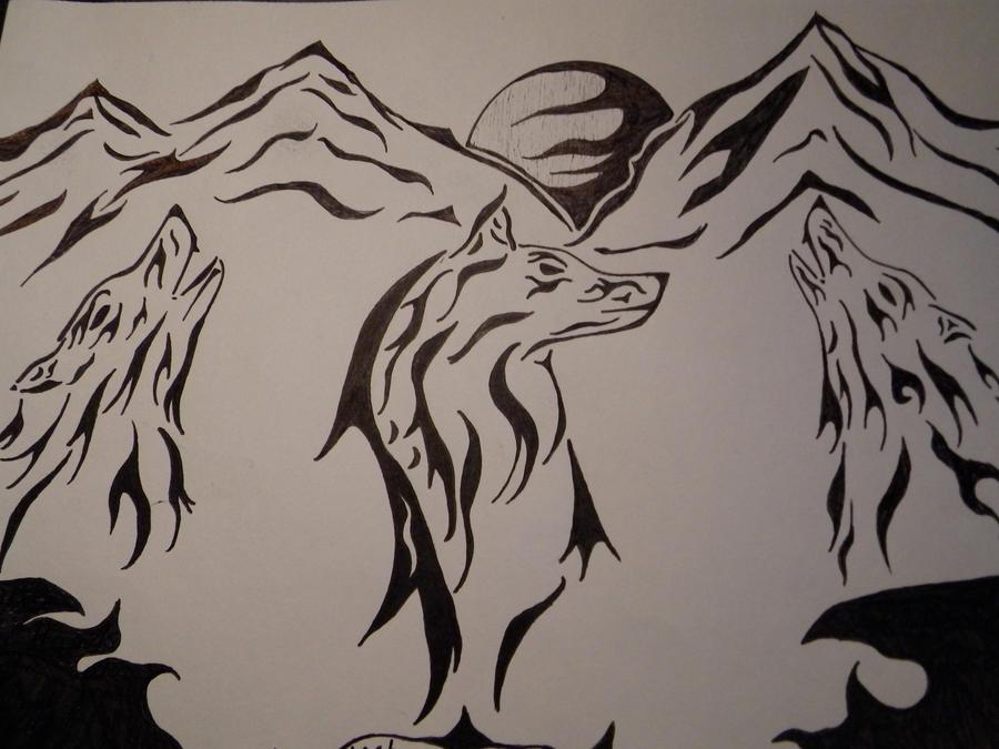 Tribal wolf art by Wol...