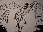 Tribal wolf art