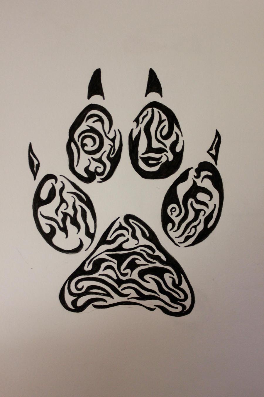 Tribal-Tattoos wolf_paw_tribal_tattoo_by_wolfbaltodog-d5adkdu