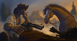 A cowboy and his horse by Manweri