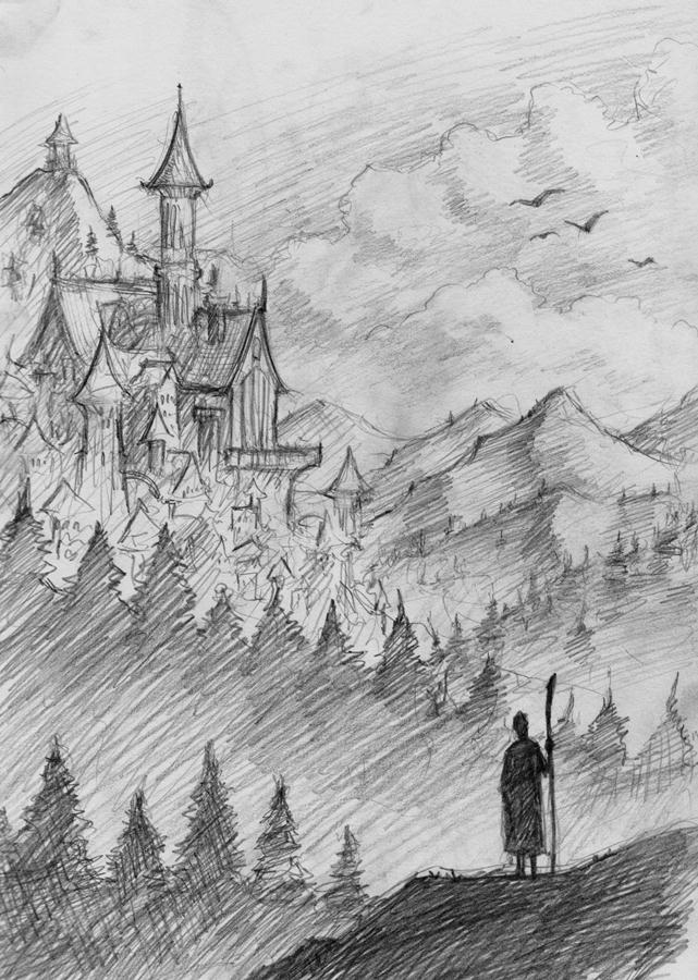 Fantasy Landscape Pencil Drawing | www.imgkid.com - The ...