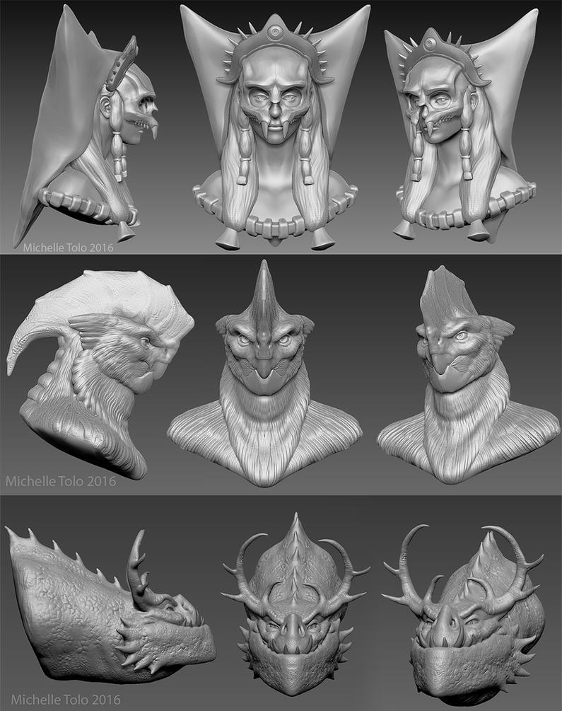Zbrush character sketches by Manweri