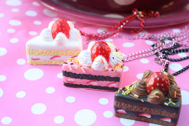 Yummy Cake Slice Necklaces by KittywoodDesigns