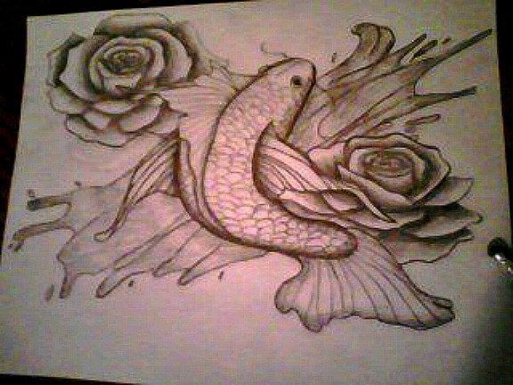 Fish and roses by drawing in pencil on deviantart for Cool rose drawings