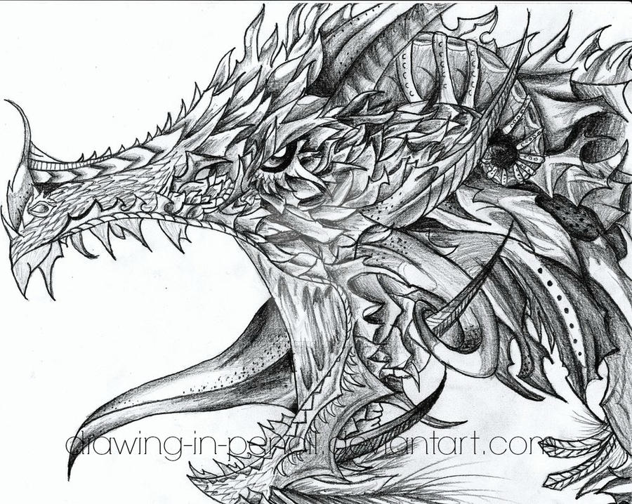 Detailed dragon by digitallydesigned on deviantart for Hard coloring pages of dragons