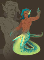 green eel merman by artofdroth