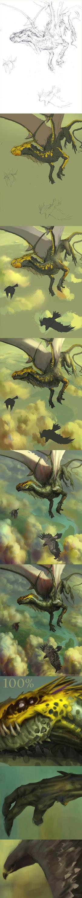 Green dragon- steps by Verehin