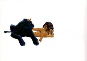 Mowgli and Bagheera colour by kookybird
