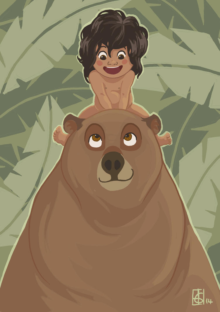 Mowgli and Baloo by kookybird