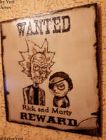 Rick and Morty woodburning artwork wild west v1 by YuriArtov