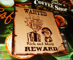 Rick and Morty woodburning artwork wild west v1 1 by YuriArtov