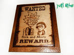 Rick and Morty woodburning artwork wild west(ETSY) by YuriArtov
