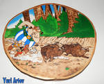Asterix  and Obelix  woodburning fanart by YuriArtov