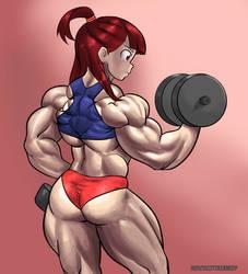 Akko working out by NeroScottKennedy