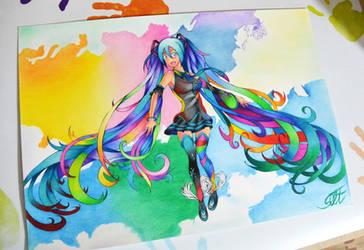 Rainbow Miku by SorinDrawings