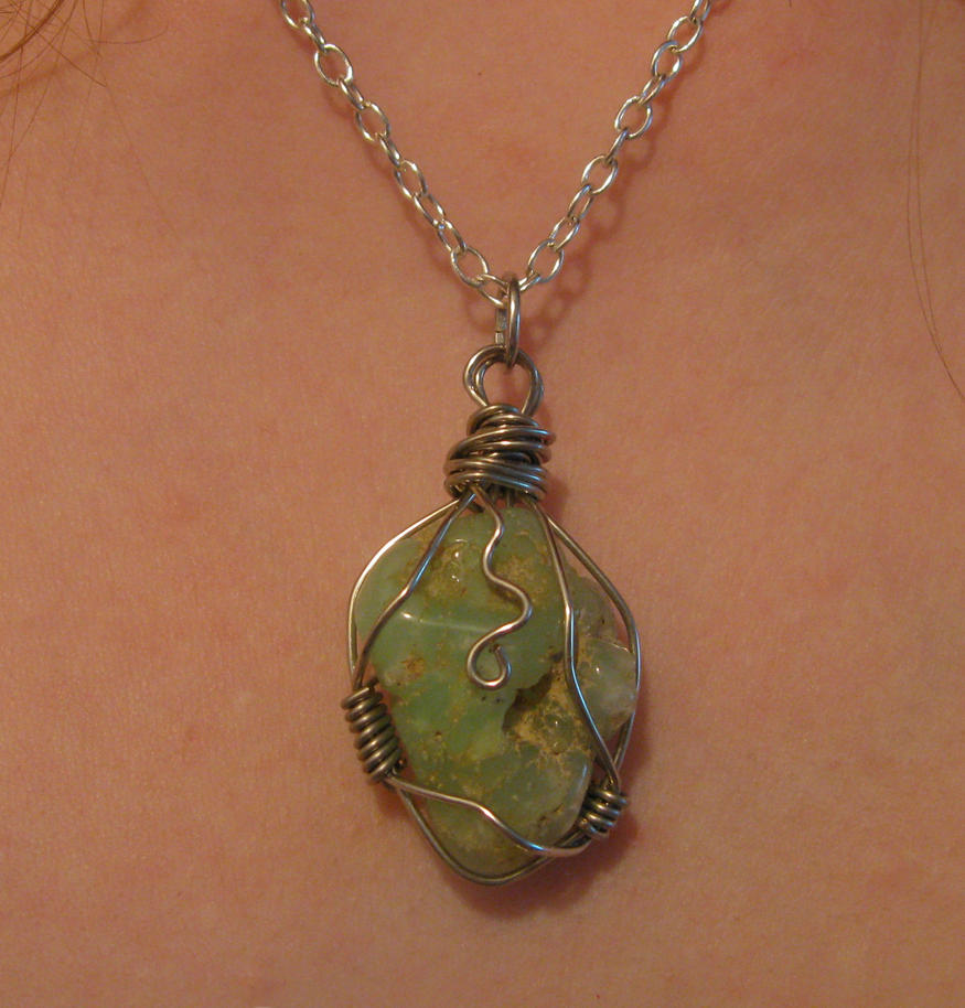 Wire wrapped chrysoprase stone necklace by katlynmanson on for How to make rock jewelry