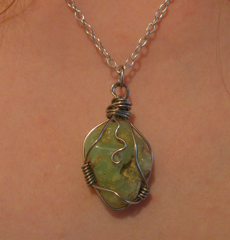 wrapped chrysoprase stone necklace by Katlynmanson on DeviantArt
