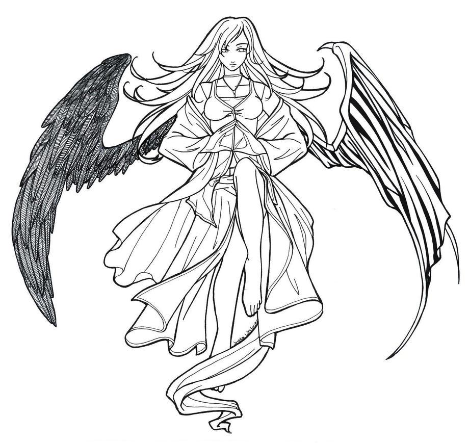 fallen angel coloring pages - fallen angel lineart by kuroihana on deviantart