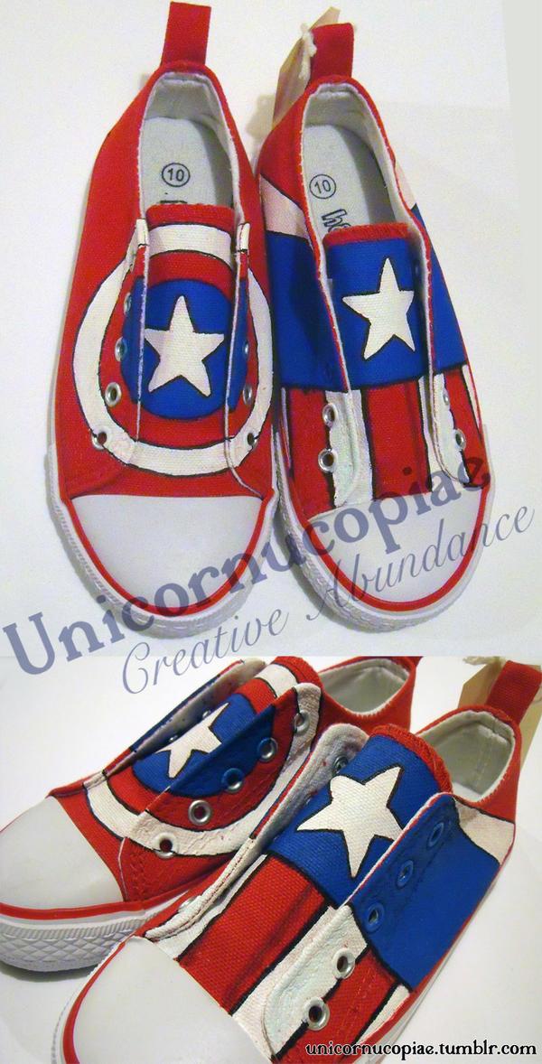 Captain America Shoes by unicornucopiae