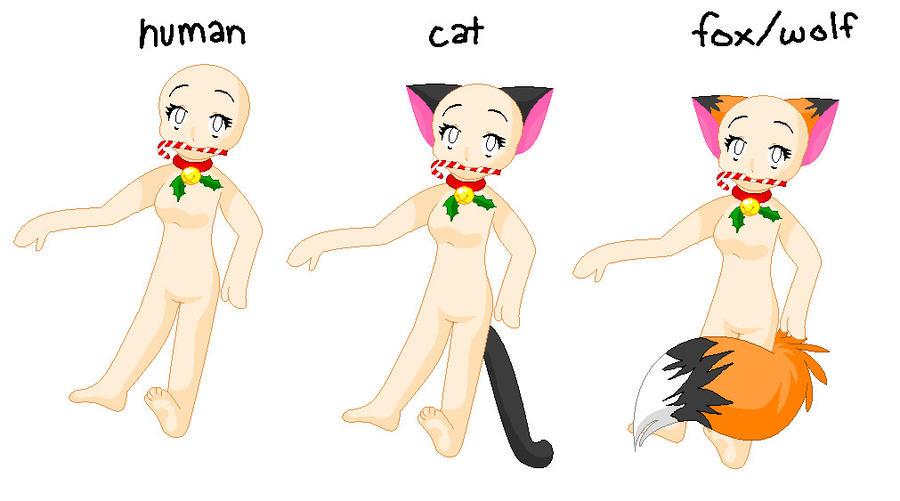 Cat-Fox-Human Christmas Base by kittyangel54 on DeviantArt
