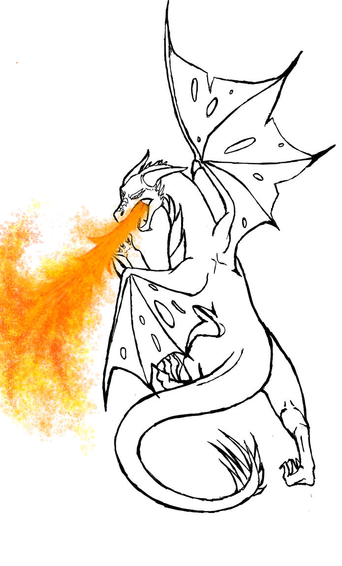 dragon outline 2 w fire by wolftears95 - Dragon Outline