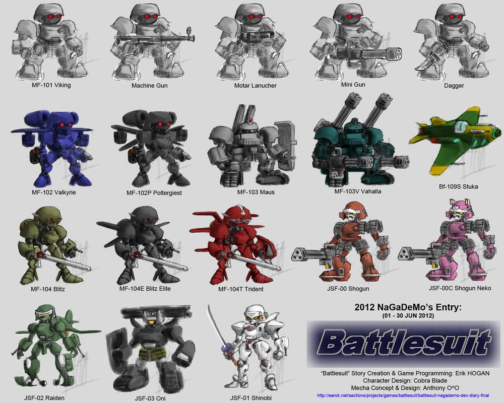 Collection of Battlesuit Game Sprites in Full size by alt-L
