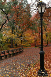 Central Park Lamppost and Path by kaitou-ace