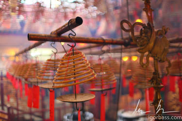 Incense Spirals at Man Mo Temple in Hong Kong by kaitou-ace
