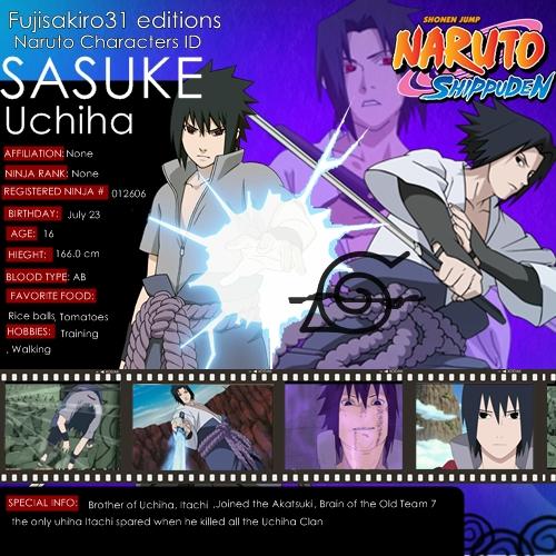 Naruto Character ID Sasuke By Fujisakiro31
