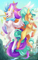 MLP- Queen Novo and Princess Skystar by Flying-Fox