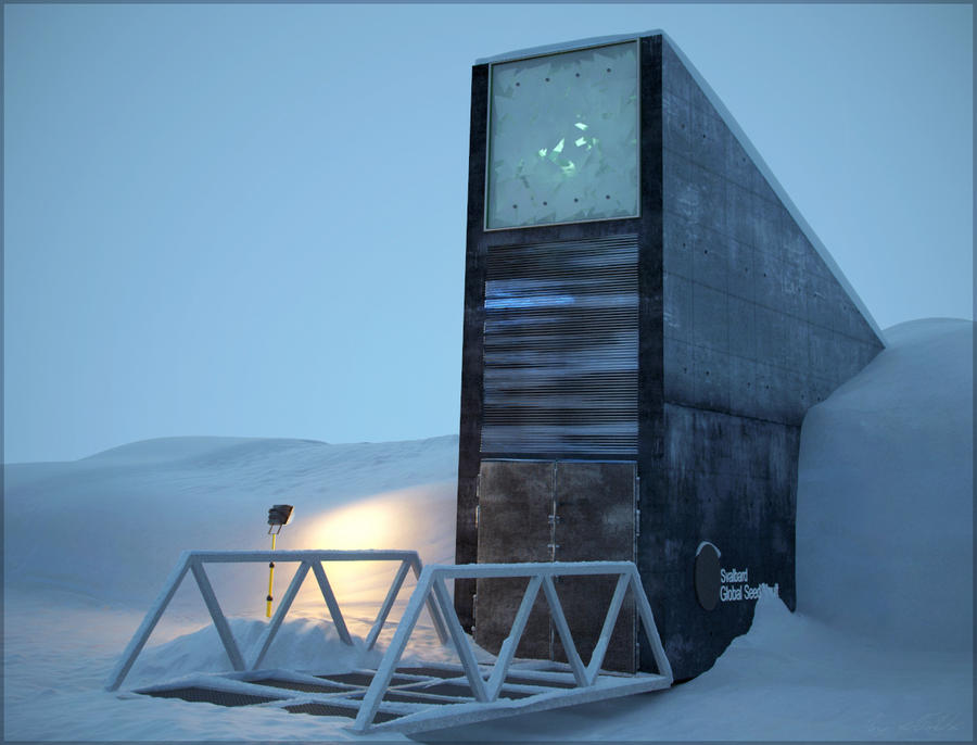 A photograph showing Svalbard Global Seed Vault