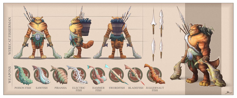 Character Concept Design Portfolio : Werecat fisherman character sheet by telmand on deviantart