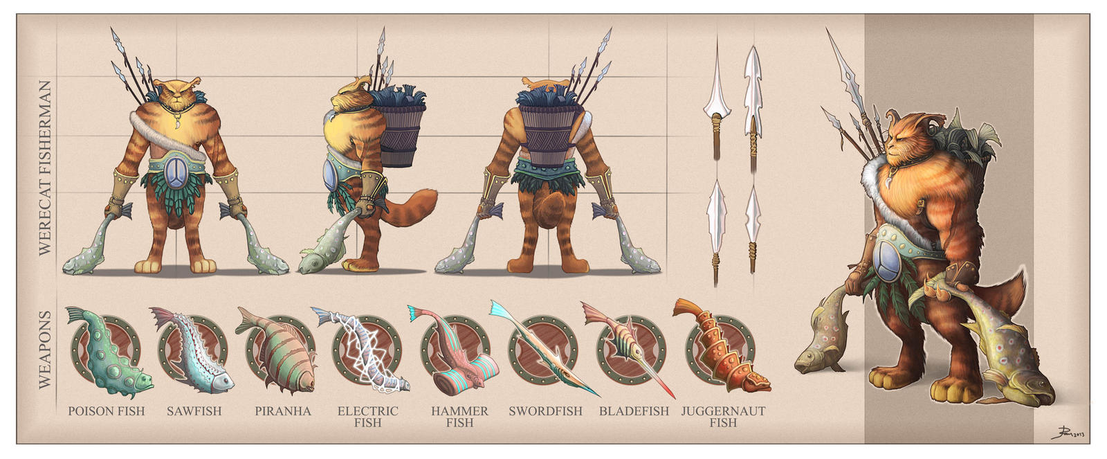 Character Design Artist Portfolio : Werecat fisherman character sheet by telmand on deviantart