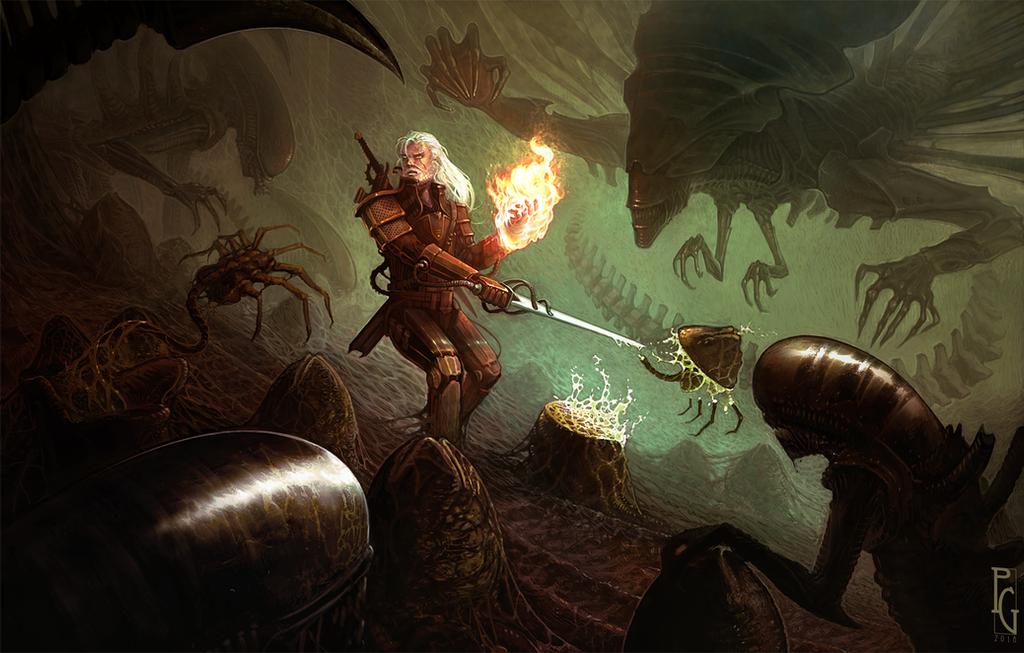 Geralt vs Aliens by Telmand