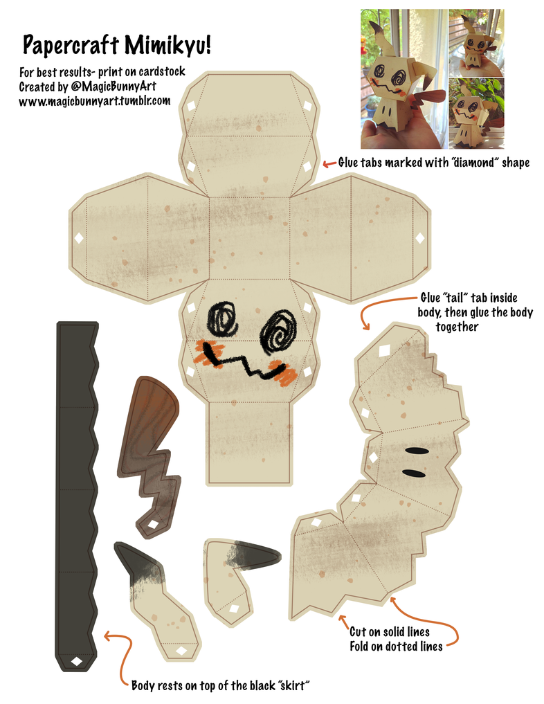 Mimikyu papercraft template by magicbunnyart on deviantart for Cute papercraft templates